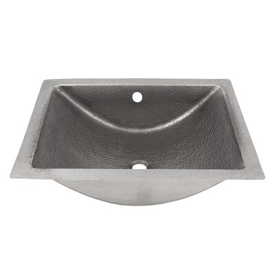 Concave Metal Rectangular Undermount Bathroom Sink with Overflow Sink Finish: Satin Nickel