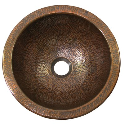 Metal Circular Drop-In Bathroom Sink with Overflow Sink Finish: Antique Copper