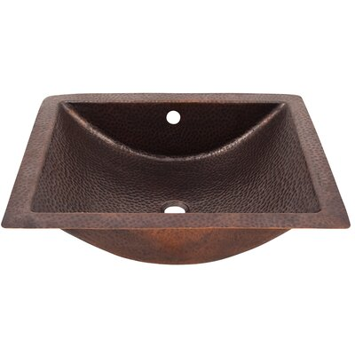 Concave Rectangular Undermount Bathroom Sink with Overflow Sink Finish: Antique Copper