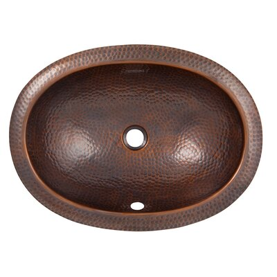 Metal Oval Undermount Bathroom Sink with Overflow Sink Finish: Antique Copper