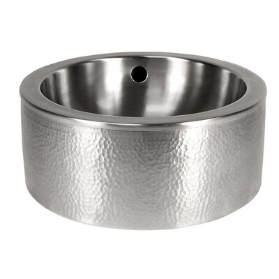 Circular Vessel Bathroom Sink with Apron Sink Finish: Satin Nickel