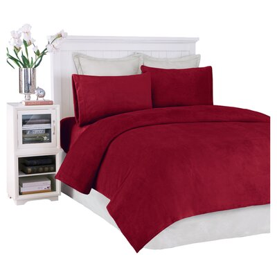 JLA Basic Solid Micro Raschel Sheet Set - Size: King, Color: Deep Red at Sears.com