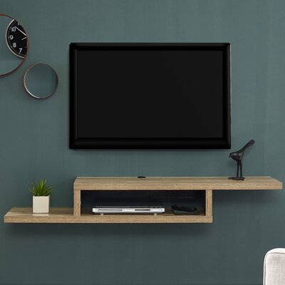 Ascend 60 Asymmetrical Wall Mounted TV Component Shelf Finish: Burka Bark