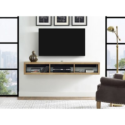 60 Shallow Wall Mounted TV Component Shelf Finish: Burka Bark