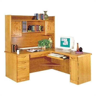 Waterfall L-Shape Computer Desk with Hutch Top (Right)