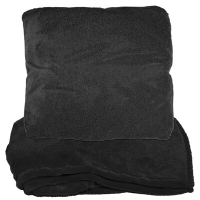 Zip Up Fleece Throw Blanket Color: Black