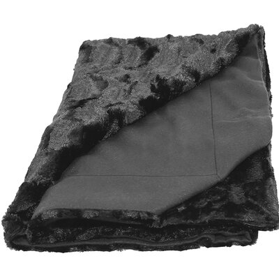 Designer Faux Fur Throw Color: Black