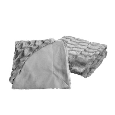 Designer Faux Fur Throw Color: Silver