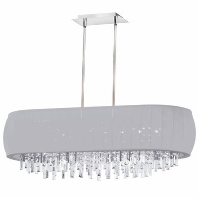 Liza 8-Light Kitchen Island Pendant Shade Color: Silver Lycra