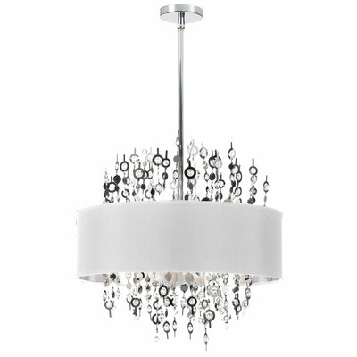 Jordi 8-Light Drum Pendant Shade Color: White