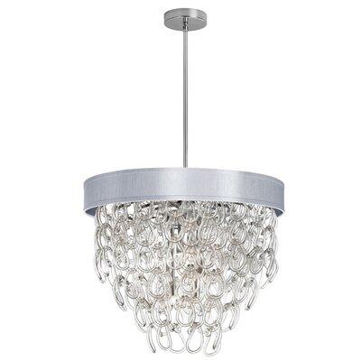 dainolite 6 Light Crystal Chandelier - Shade Color: Silver