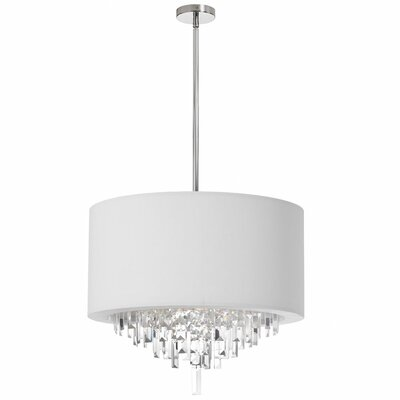 Lesli 6-Light Crystal Convertable Pendant Shade Color: White