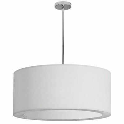4 Light Crystal Drum Pendant Shade Color: White