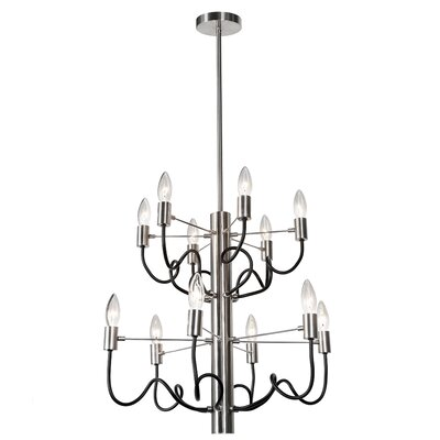 Aisha 12-Light Candle-Style Metal Chandelier Finish: Satin Chrome/Matte Black