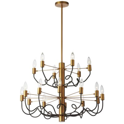 Aisha 18-Light Candle-Style Chandelier Finish: Vintage Bronze/Matte Black