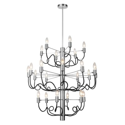 Aisha 24-Light Candle-Style Chandelier Finish: Satin Chrome/Matte Black