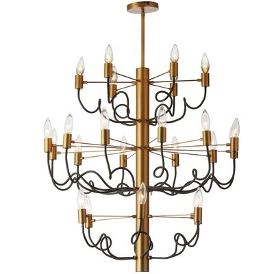 Aisha 24-Light Candle-Style Chandelier Finish: Vintage Bronze/Matte Black