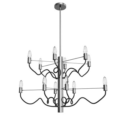 Aisha 12-Light Candle-Style Chandelier Finish: Satin Chrome/Matte Black