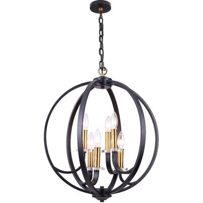 Camelon 6-Light Candle-Style Chandelier Finish: Black, Size: 28.75 H x 24.25 W x  24.25 D