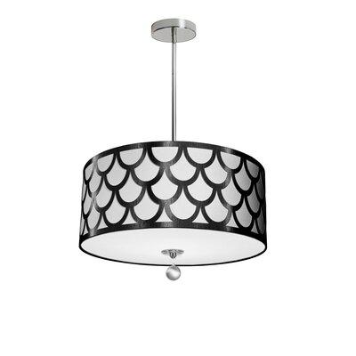 Piper 4-Light LED Drum Pendant Shade Color: Black/White