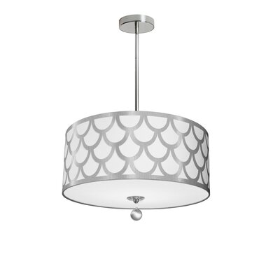 Piper 4-Light LED Drum Pendant Shade Color: White/Silver