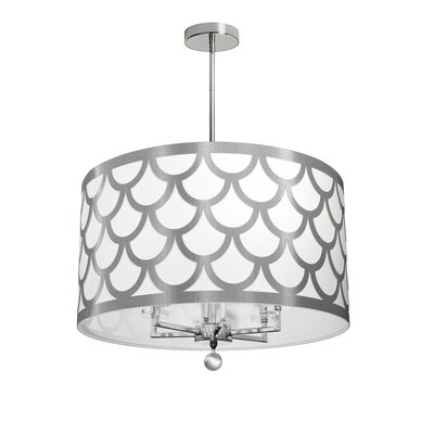 Piper 6-Light LED Drum Chandelier Shade Color: White/Silver