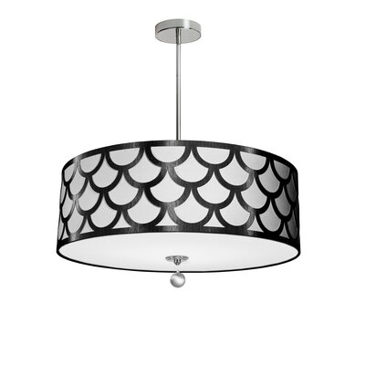 Piper 4-Light LED Metal Drum Pendant Shade Color: Black/White