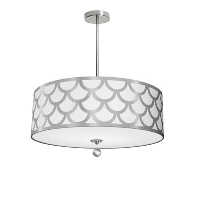 Piper 4-Light LED Metal Drum Pendant Shade Color: White/Silver