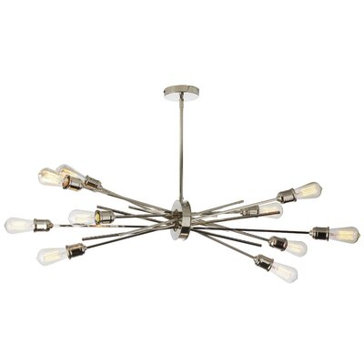 Gracia Horizontal 10-Light LED Geometric Pendant Base Finish: Burnished Chrome