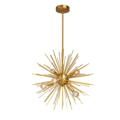 Cardoso 6-Light LED Geometric Pendant Base Finish: Gold