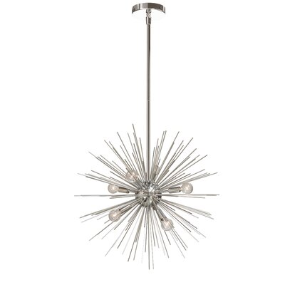 Cardoso 6-Light LED Geometric Pendant Base Finish: Silver