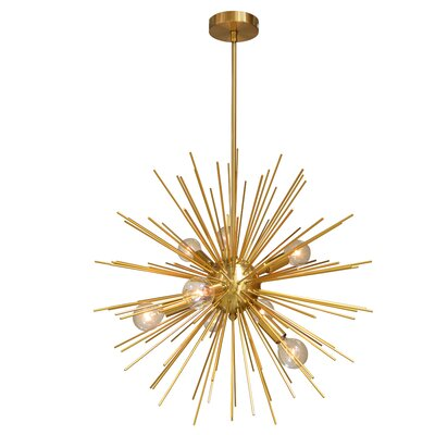 Charboneau 8-Light LED Geometric Pendant Base Finish: Gold