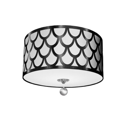 Piper 3-Light LED Intergrated Flush Mount Shade Color: Black/White