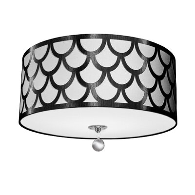 Piper 4-Light LED Intergrated Flush Mount Shade Color: Black/White