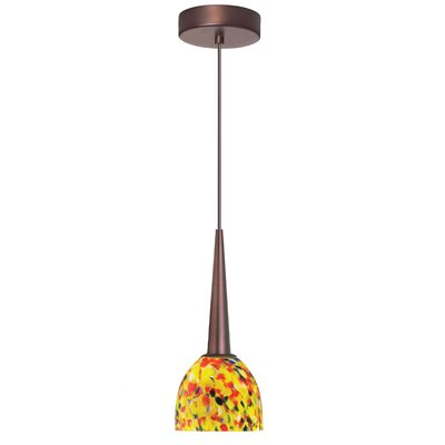 Mcgough 1-Light LED Mini Pendant Finish: Oil Brushed Bronze, Shade color: Yellow Mosaic