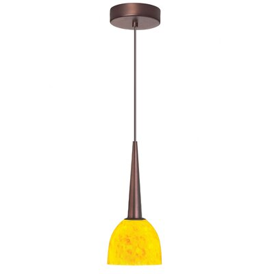 Mcgough 1-Light LED Mini Pendant Finish: Oil Brushed Bronze, Shade color: Yellow Petal
