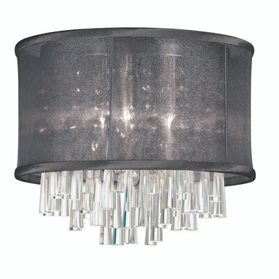 Leonardo 4-Light Crystal Flush Mount Shade Color: Black