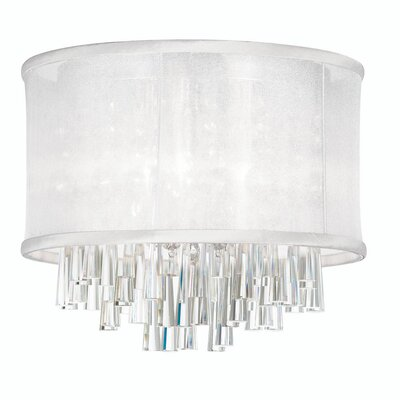 Leonardo 4-Light Crystal Flush Mount Shade Color: White