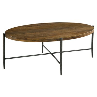 Metal and Wood Oval Coffee Table