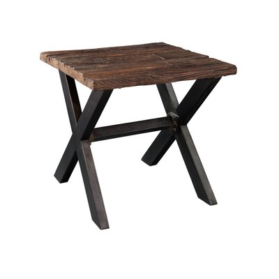 Railroad Tie and Steel End Table