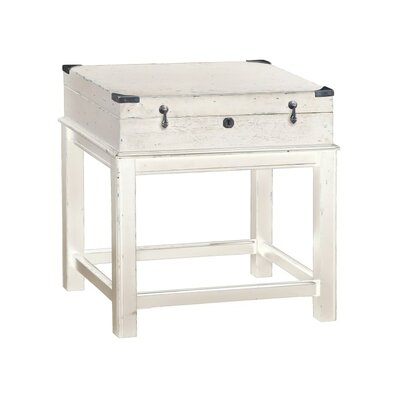 Box On Stand End Table Color: White