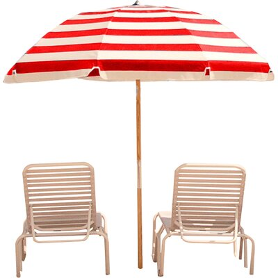7.5 Beach Umbrella Fabric: Red / White Stripe