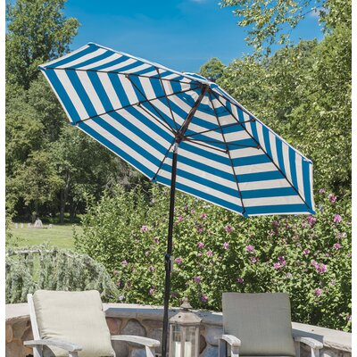 7.5 Market Umbrella Color: Blue, Frame Finish: Wood Grain