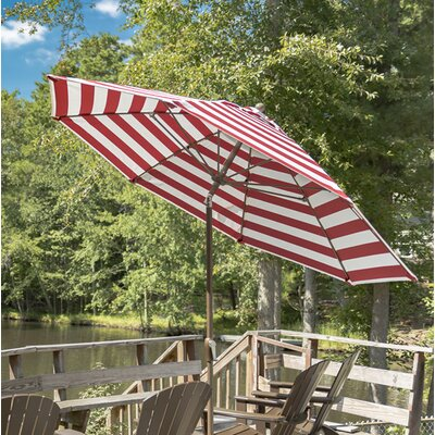 9 Market Umbrella Finish: Bronze, Color: Red & White Stripe