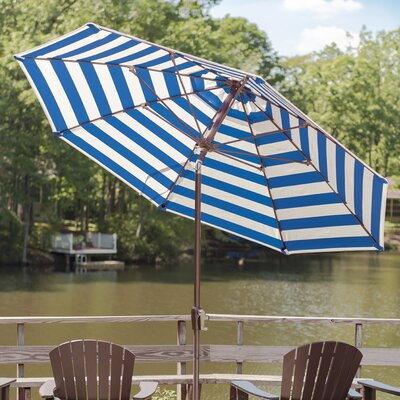 9 Market Umbrella Finish: Black, Color: Blue & White Stripe