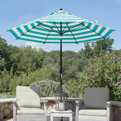 11 Market Umbrella Finish: Black, Fabric: Teal and White Stripe Acrylic