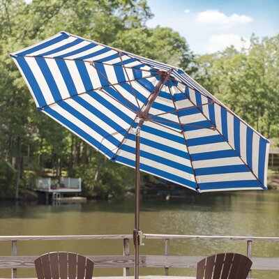 11 Market Umbrella Fabric: Blue and White Stripe Acrylic, Finish: Wenge