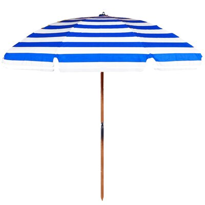 7.5 Beach Umbrella Fabric: Blue / White Stripe