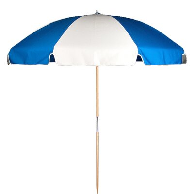 7.5 Beach Umbrella Fabric: Pacific Blue / White