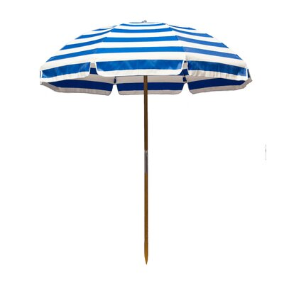 6.5 Beach Umbrella Fabric: Pacific Blue / White Stripe
